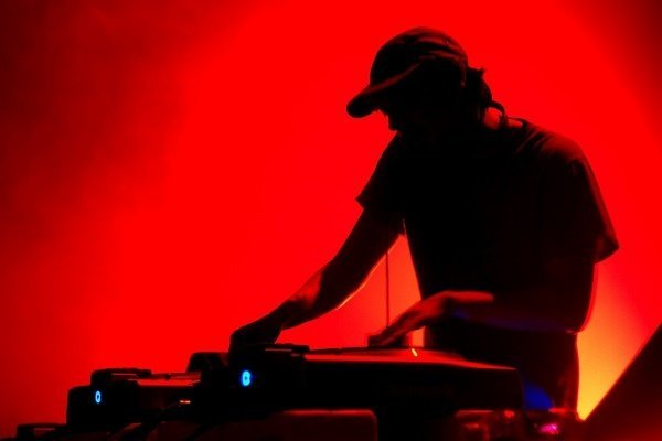 Band Silouette Of Dj Turntable Red Background 5